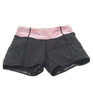 Lululemon shorts black with striped waist band Sz2